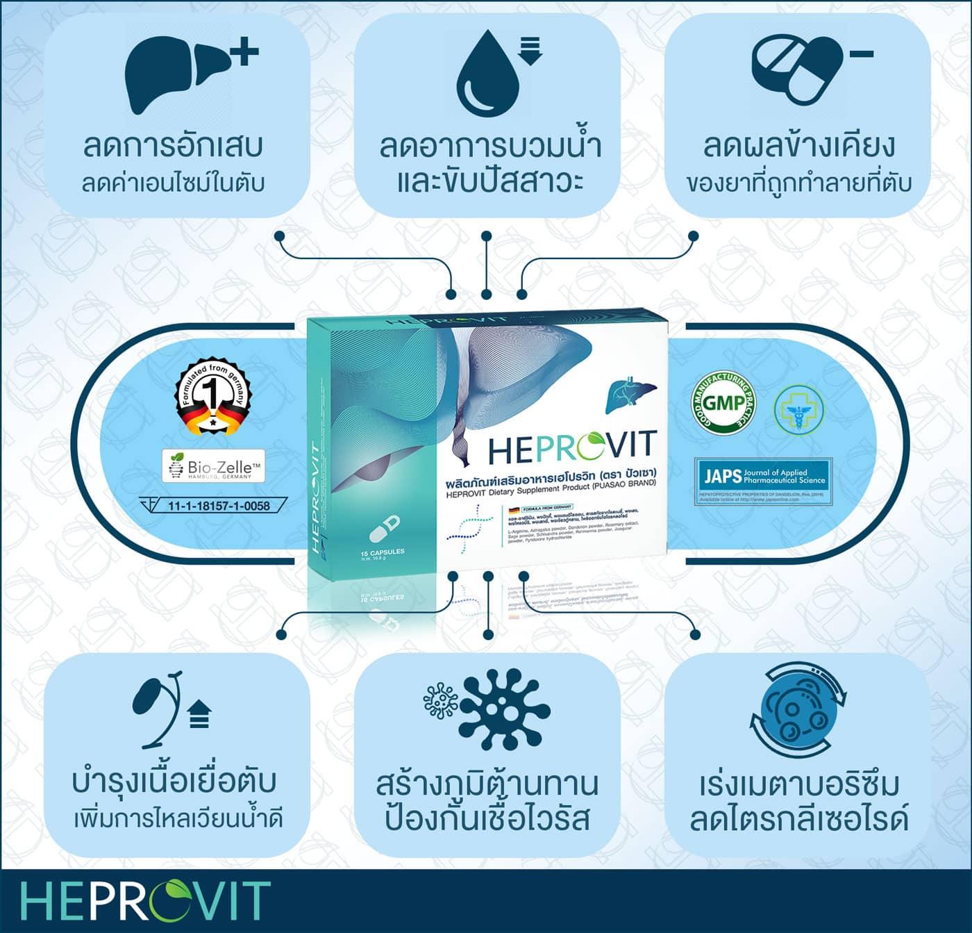 HEPROVIT เฮโปรวิท ฟื้นฟูตับ บำรุงตับ รักษาตับ ดีท็อกซ์ตับ ล้างสารพิษตับ ไขมันพอกตับ ตับอักเสบ ตับแข็ง ไวรัสตับอักเสบเอ ไวรัสตับอักเสบบี ไวรัสตับอักเสบซี มะเร็งตับ ตาเหลืองตัวเหลือง เจ็บชายโครงด้านขวา ง่วงกลางวัน ตื่นกลางคืน ดื่มแล้วเป็นผื่นแดง คันตามตัวไม่มีสาเหตุ มือเท้าบวม ท้องมาน ปวดตามข้อ ท้องอืด แน่น หายใจไม่สะดวก ดื่มเหล้า สุรา อ้วน ไขมัน